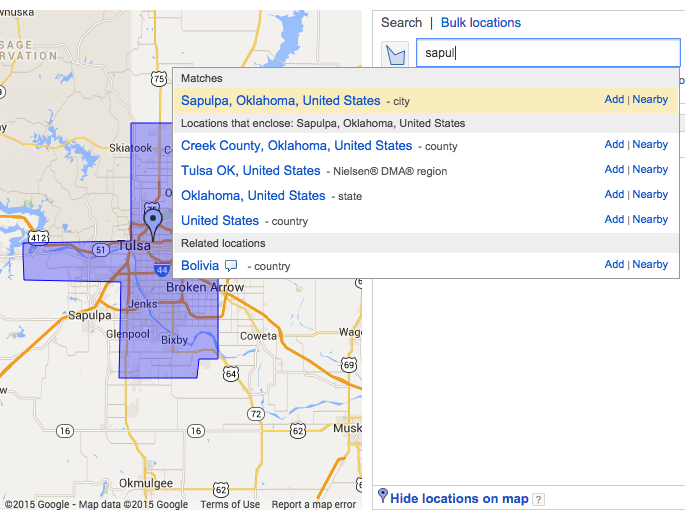 Google AdWords Keyword Planner - Locations example