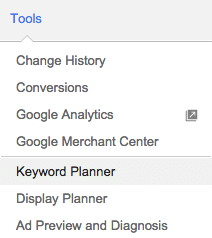 Google AdWords - Tools - Keyword Planner menu item