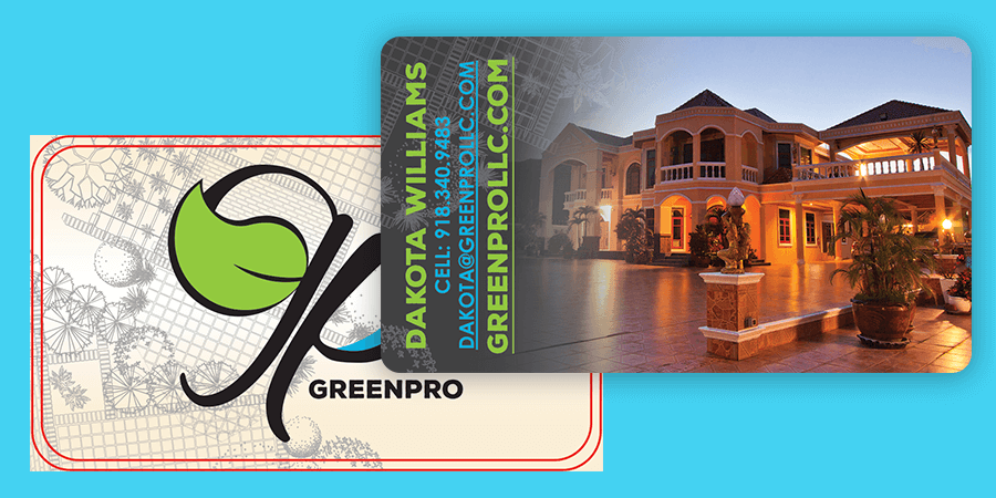 GreenPro dark mode fade to image cold foil business cards