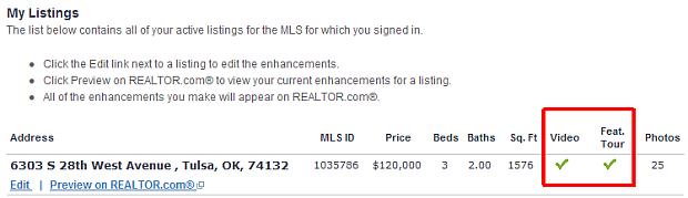 REALTOR.com Showcase/Enhanced Listing Check Marks