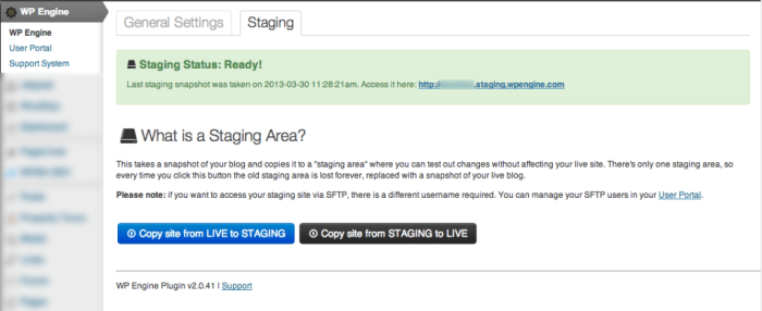 WP Engine Create Staging Area (Copy from Staging to Production)