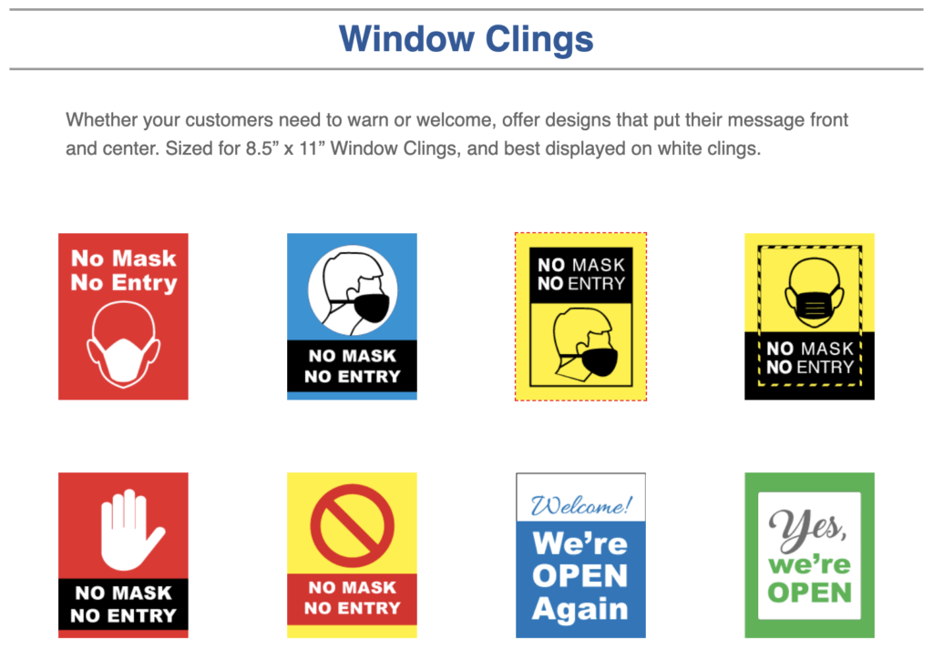 Window Clings to require wearing a mask